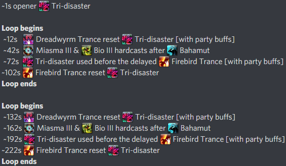 6th GCD Summon Bahamut Opener DoT Cycle Timings
