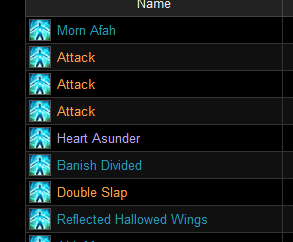 FFLogs Damage Types. Orange is physical, Blue is magical, Purple is Darkness