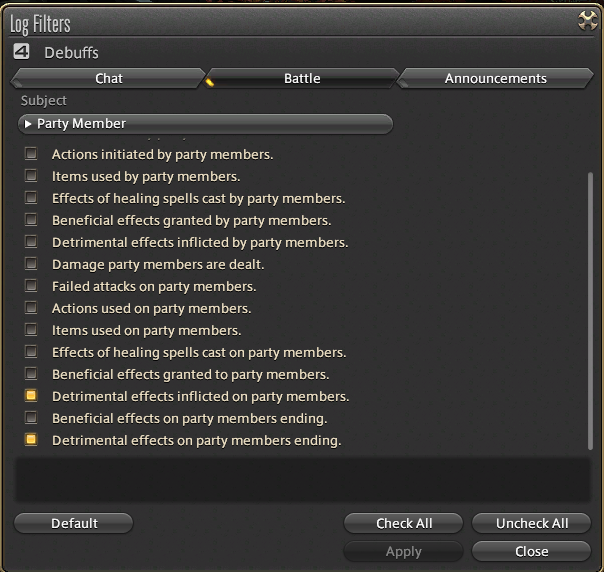 Chat Log Filters for Debuffs on Party Members